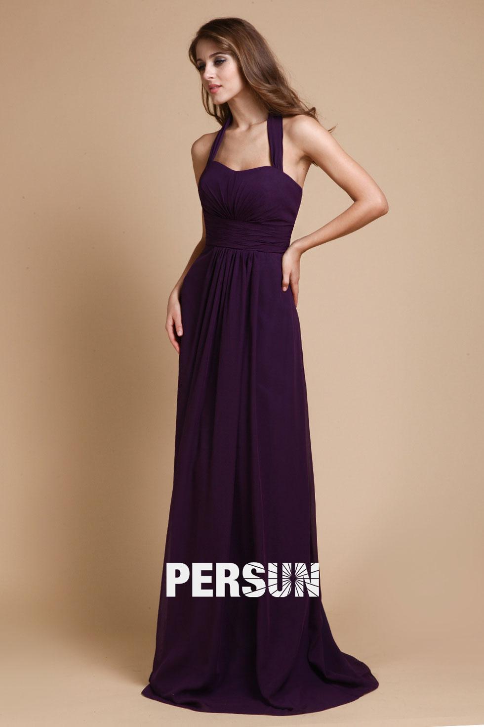 Simple robe de soirée longue pour mariage halter dos nu
