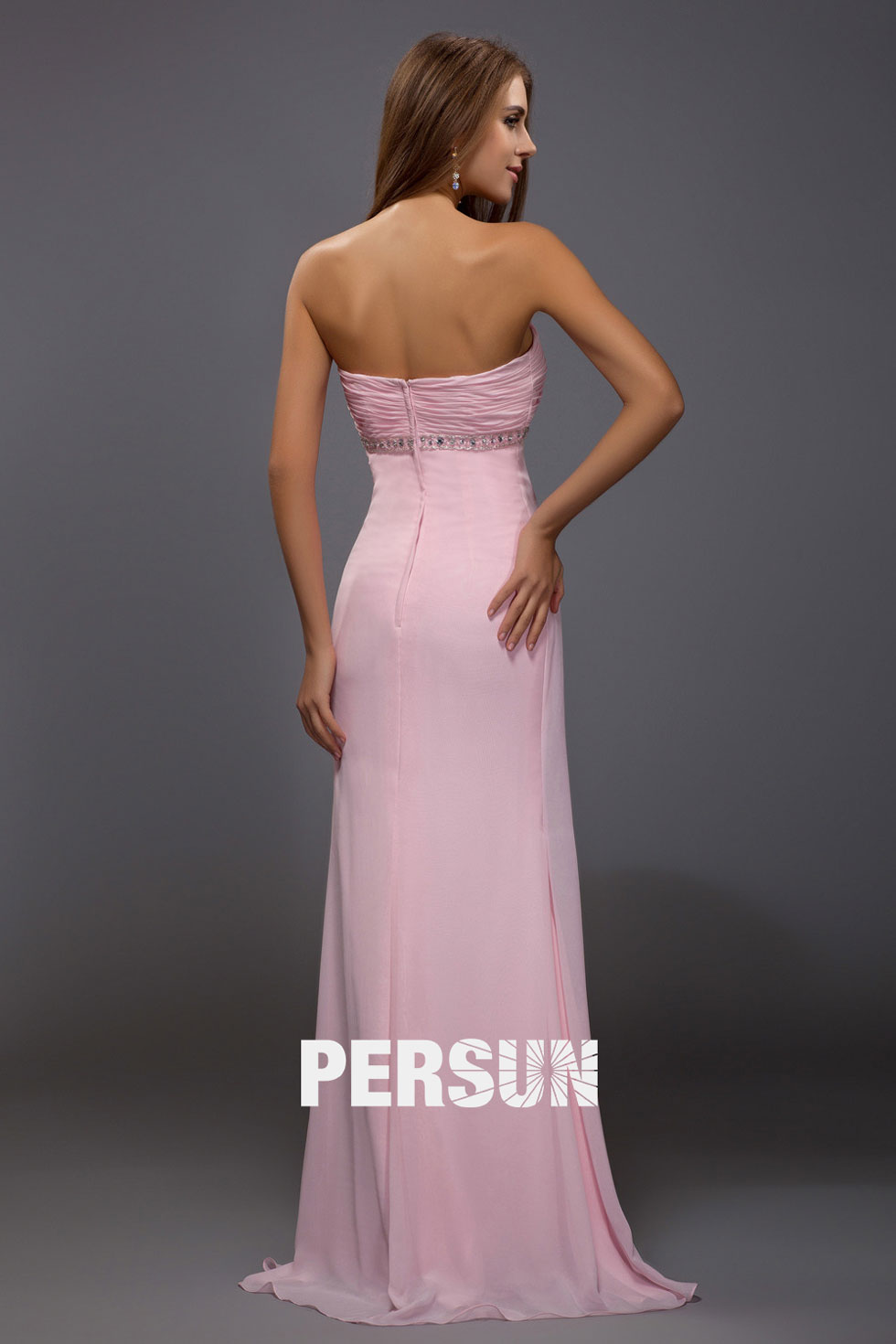 Chic robe rose bustier cœur plissé empire pour mariage d'été