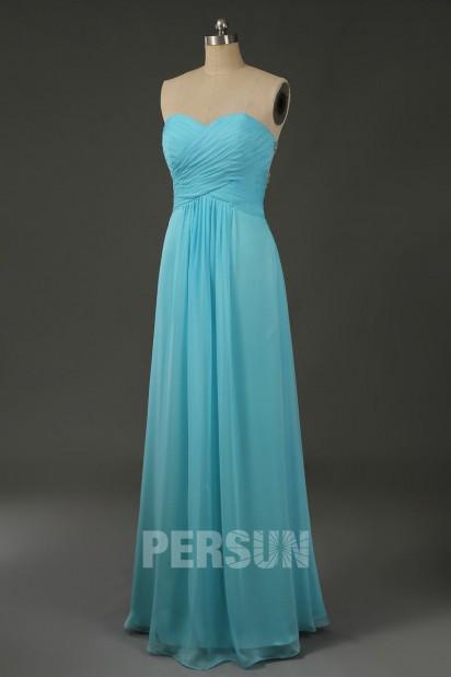 Robe de soirée bustier tencel Turquoise