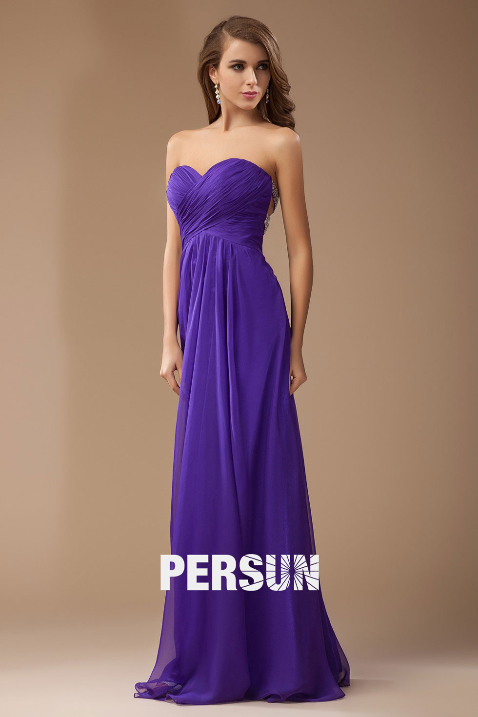 robe violette de cocktail en mousseline longue
