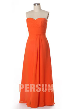 Robe cocktail orange longue