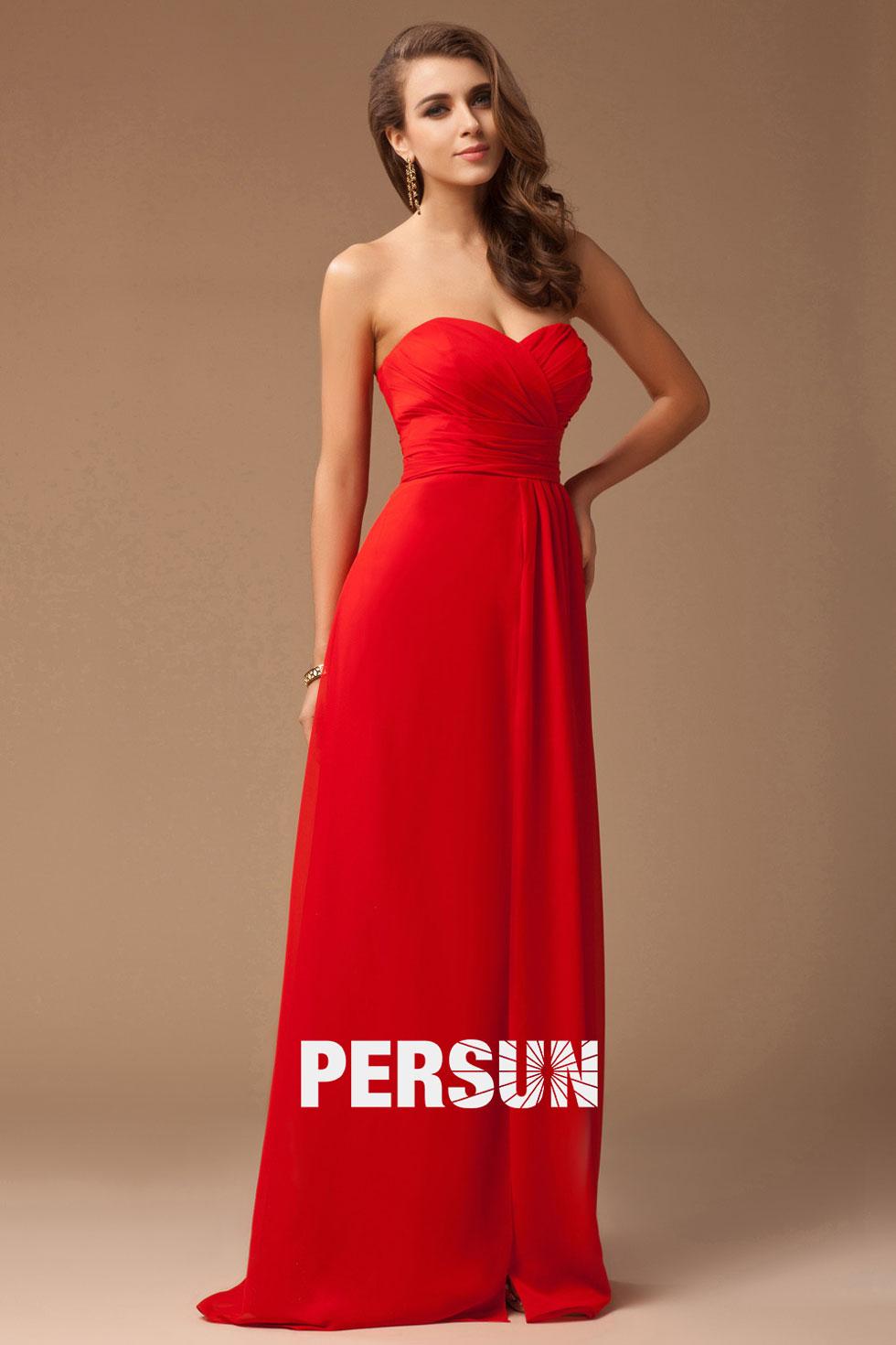 Robe soirée rouge longue sans bretelle avec fente frontale