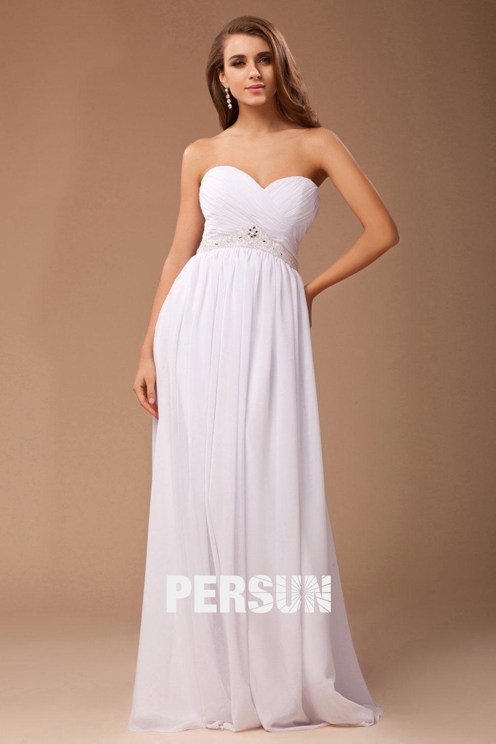 robe de soirée longue blanche longue bustier coeur plissé taille ornée de strass