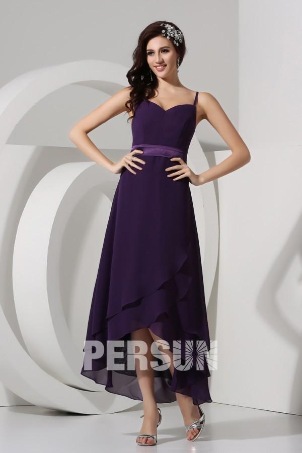 Robe violette simple décolleté en cœur avec bretelle fine