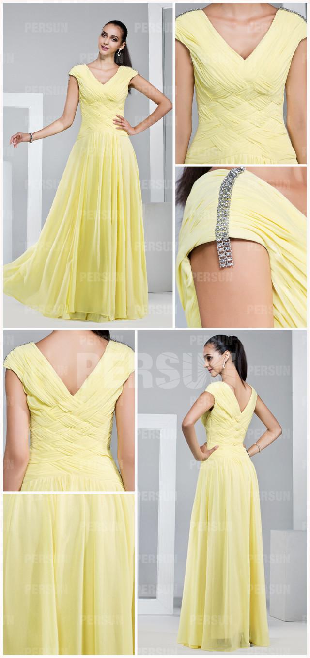 Robe soirée jaune vintage décolleté V appliquée de plis  à mancherons