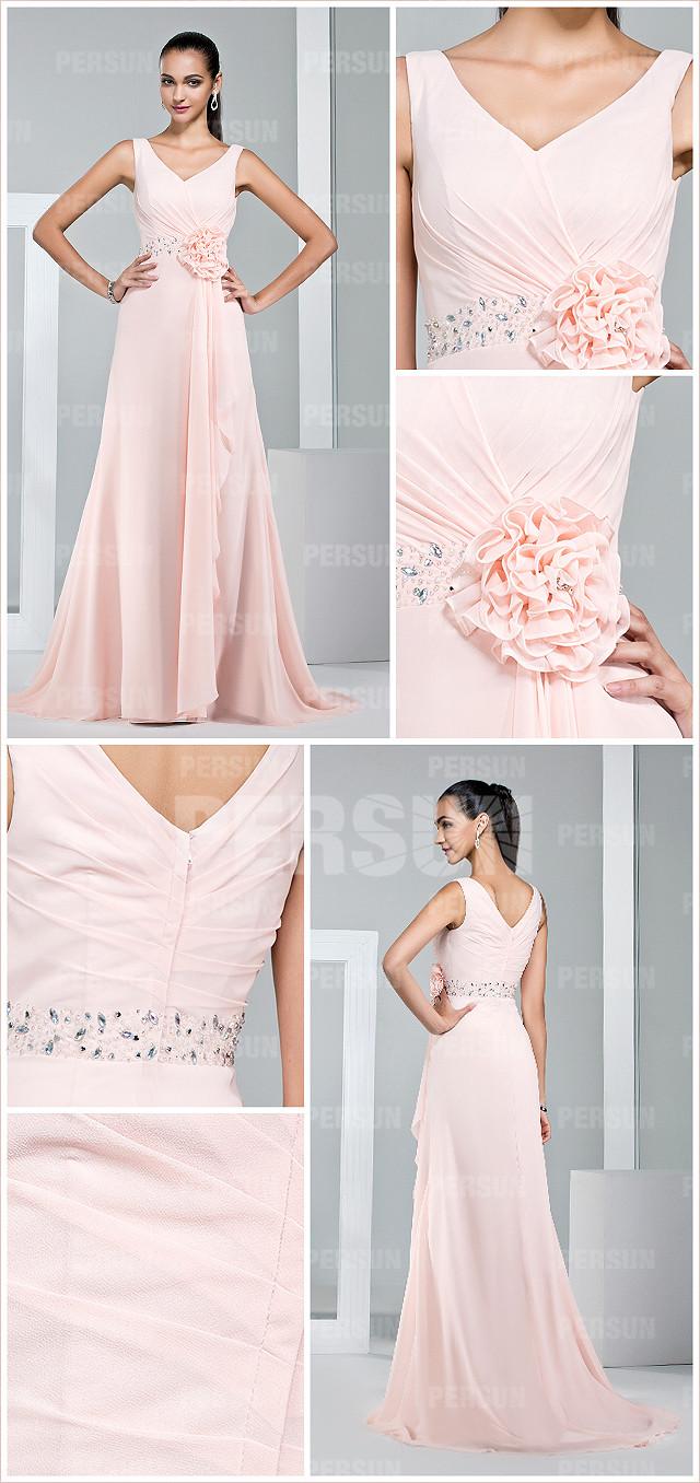 robe chic de cérémonie rose ornée de strass pastel à col en V
