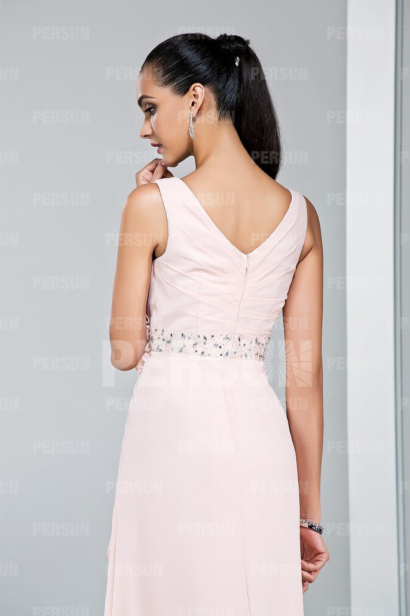 Robe balayage rose empire avec fleur fait-main pour mariage
