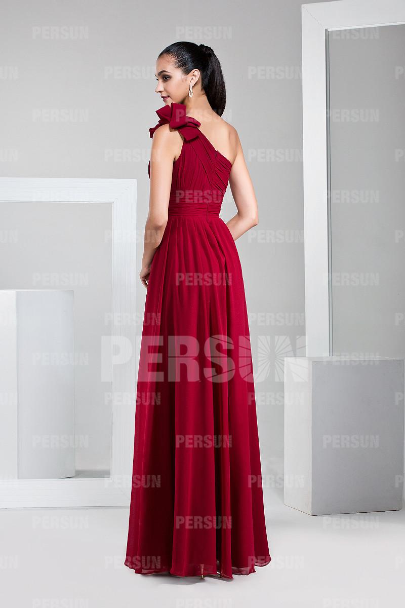 Robe cocktail rouge empire et asymétrique longue sol
