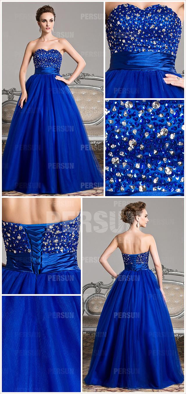 allure robe bleu roi longue empire à bustier cœur pour mariage