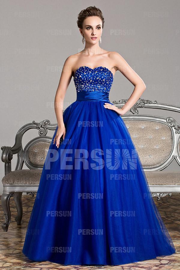 Robe de bal princesse bustier cœur en tulle bleu roi