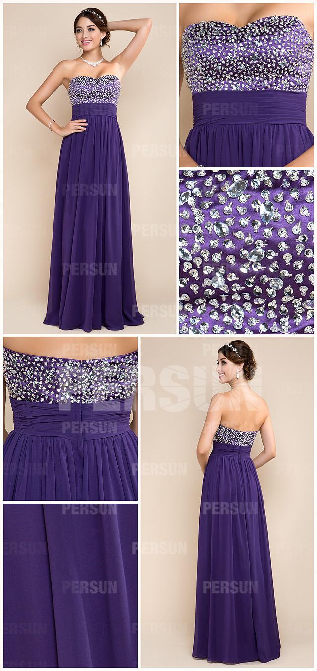 chic robe violet à bustier cœur embellie de strass poue soirée