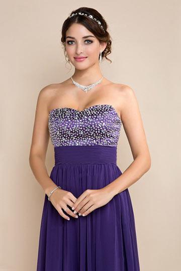 da450fa6f1b Robe longue violette bustier coeur à paillettes taille empire en mousseline