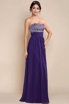 Robe longue violette bustier coeur à paillettes taille empire en mousseline