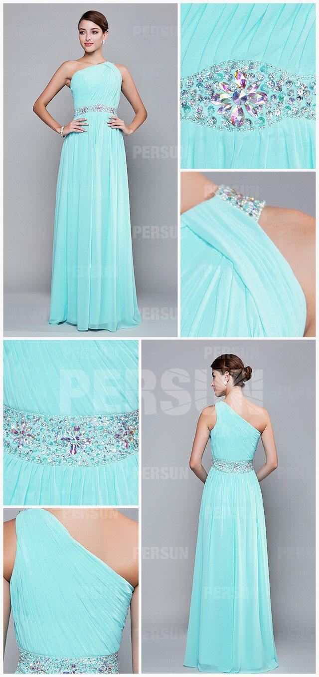 Robe turquoise pastel magnifique col asymétrique avec strass longue pour mariage
