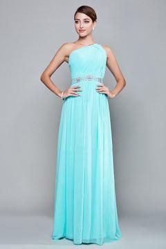 Simple robe asymétrique soirée plissée taille ornée de strass en mousseline