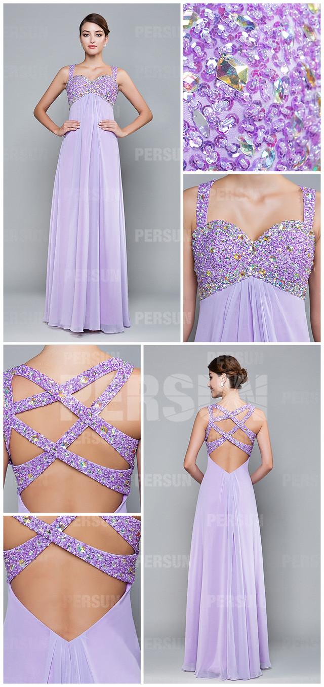 Robe violette bustier cœur en strass brillants pour demoiselle d'honneur
