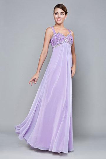 robe taille empire lilas pour mariage à haut orné de strass