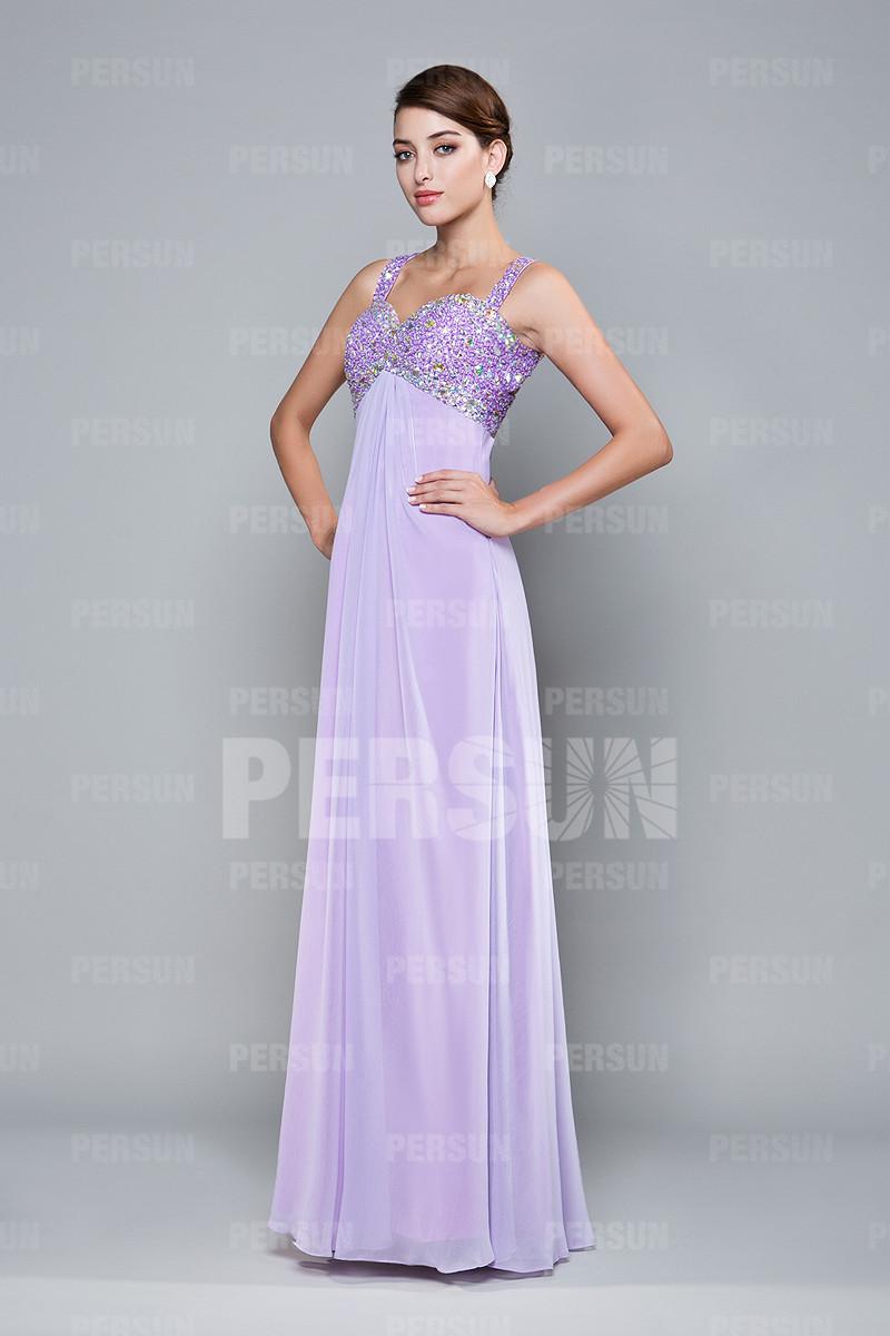 Robe de soirée longue empire lilas bustier strassé