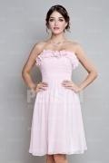 Elegantes Rosa Trägerlos A-Linie Knielang Blumen Abendkleider aus Chiffon