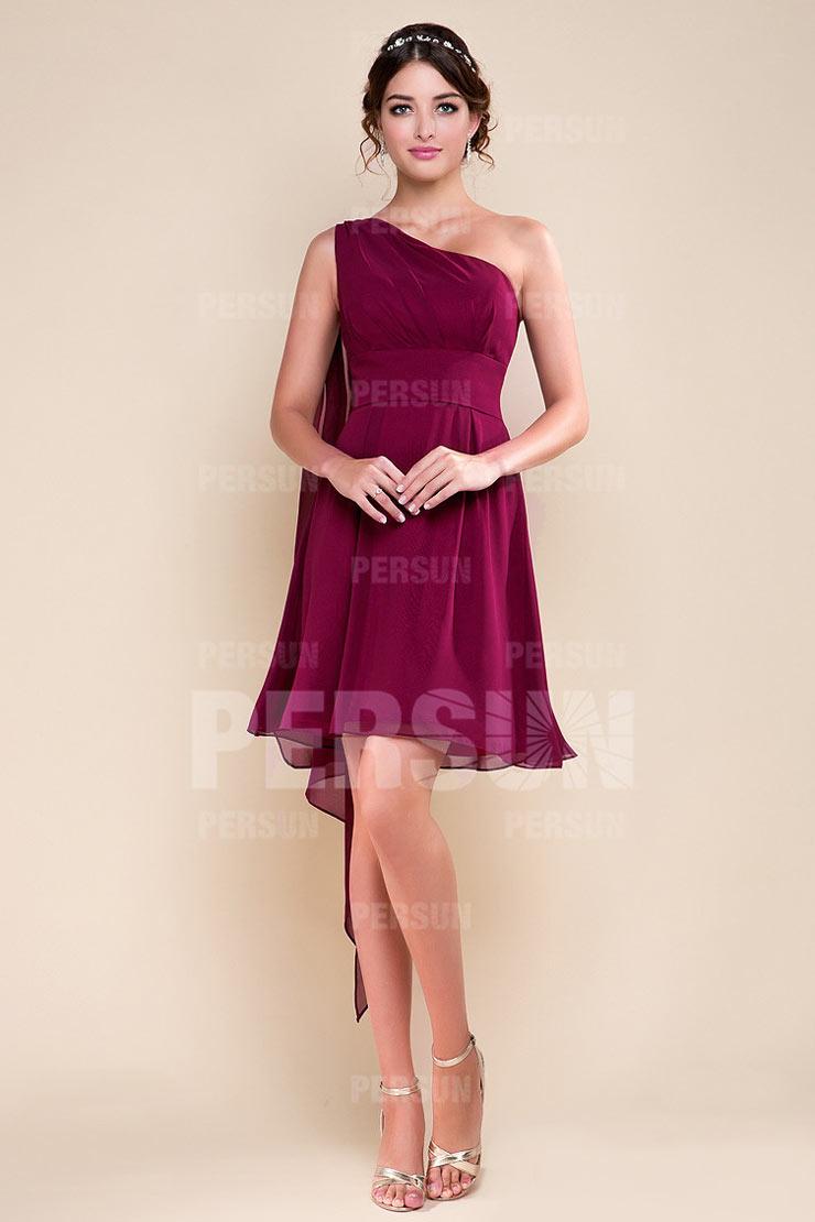 Robe demoiselle d'honneur rouge courte style empire et asymétrique