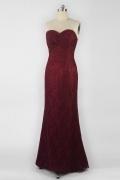 Elegantes Sweetheart Bodenlang Etui Linie Lila Abendkleider aus Spitze