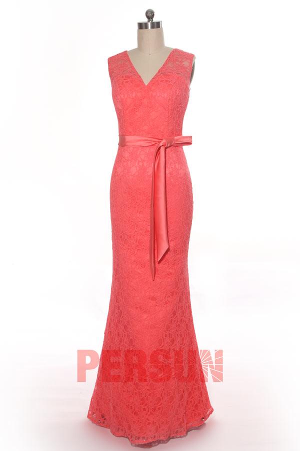 robe de soirée corail sirène en dentelle appliquée avec ceinture de noeud papillon