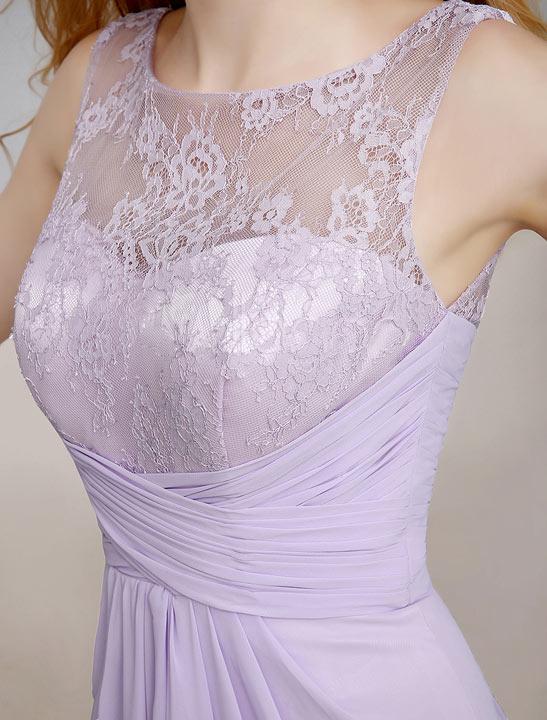 robe de soirée longue violette appliquée dentelle ajurée taille cintrée