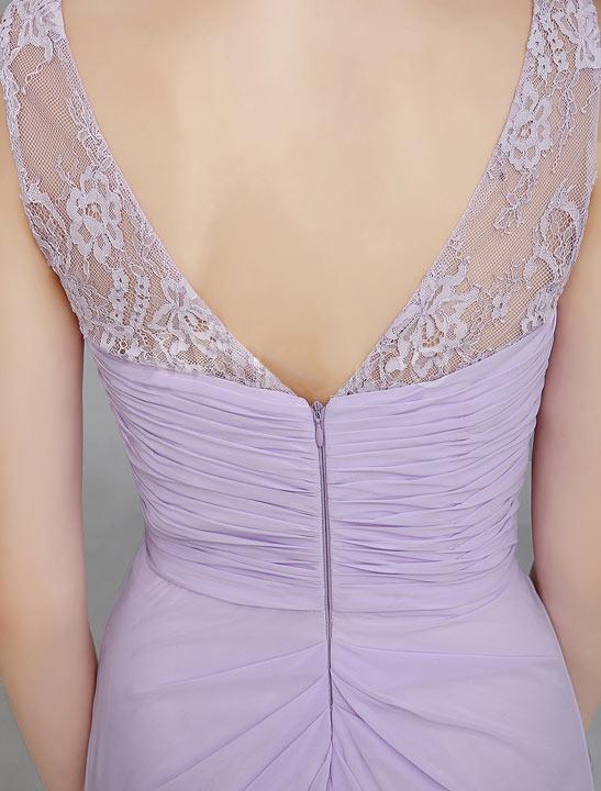 Robe violette dos à encolure V ornée de dentelle ajourée pour demoiselle d honneur