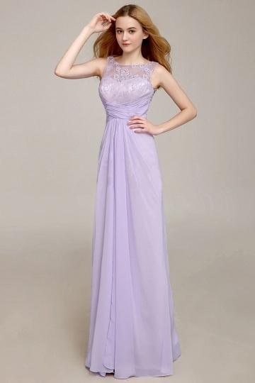 robe de soirée empire longue à haut en dentelle lilas