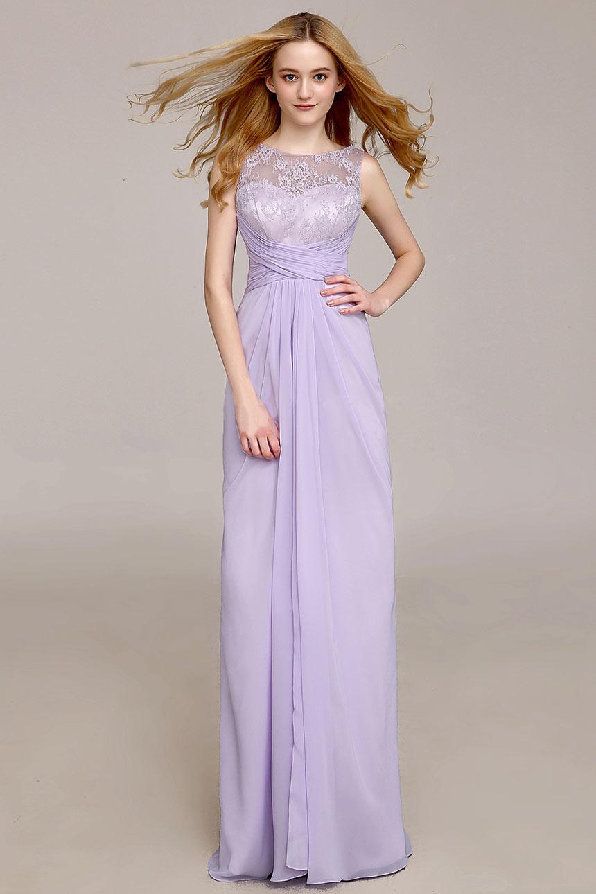 Robe cortège mariage femme empire longue à haut en dentelle lilas