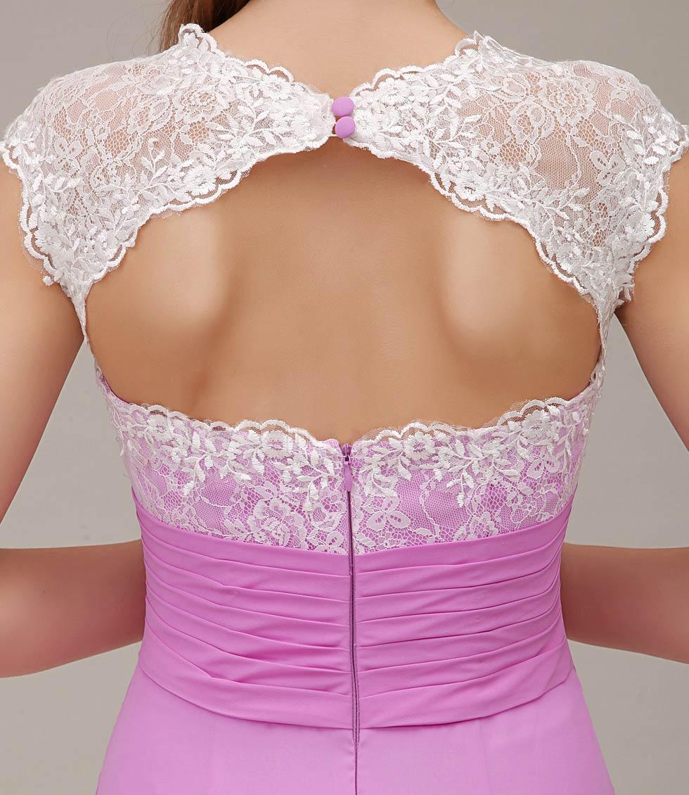 Robe appliquée dentelle ajurée dos nu fuchsia pour mariage