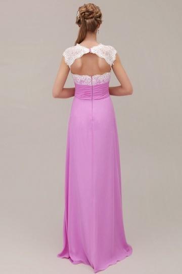 Robe longue pour mariage en fuchsia pâle à haut en dentelle blanc ... ba85e5168c6