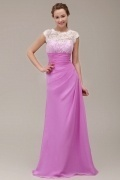Fashion Fuchsia Jewel Long A Line Lace Formal Bridesmaid Dress
