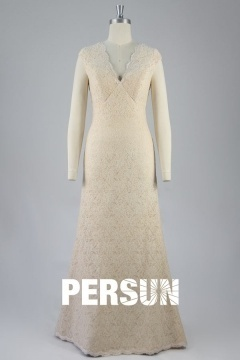 Robe chic pour invitée mariage en dentelle vintage longue pas cher