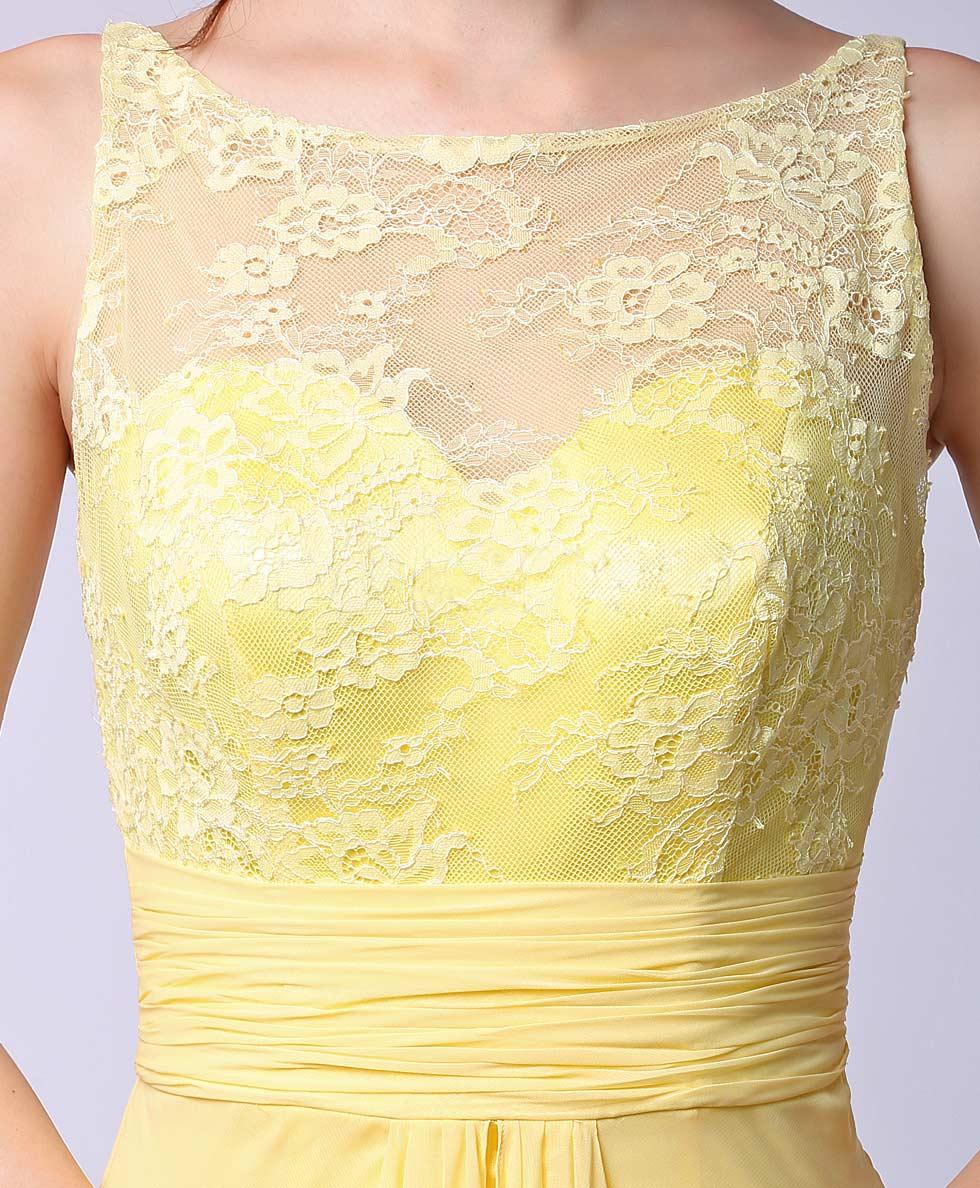 robe jaune pour mariage à haut dentelle recouverte