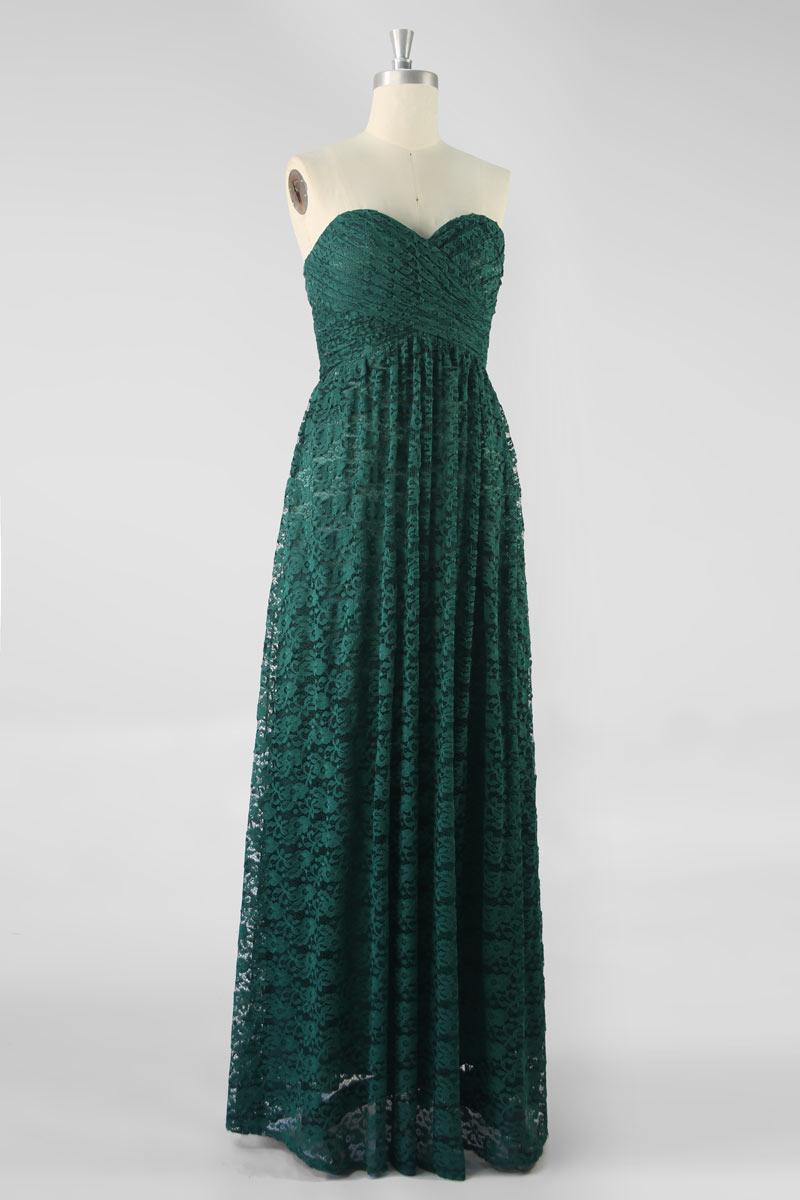 robe de soirée longue vert sapin bustier coeur plissé en dentelle exquix