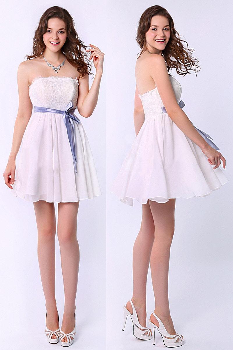robe de soirée courte bustier droit blanche haut en dentelle avec ceinture