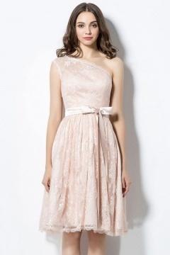 Robe pour mariage courte dentelle asymétrique avec noeud