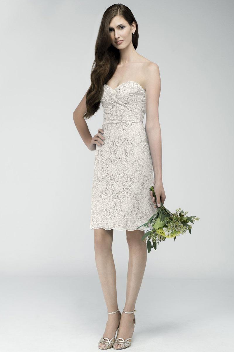 38e329a7261 Robe genoux dentelle blanc cassé pour fiançailles ou cortège femme ...