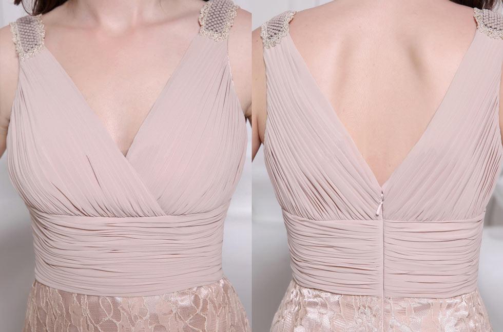 Robe de soirée champagne col V à dos nu en mousseline & jupe dentelle