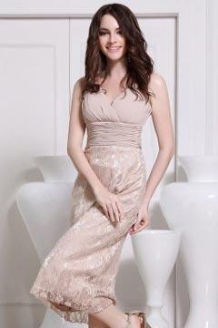 Robe de soirée de mariage mi longue à jupe en dentelle champagne