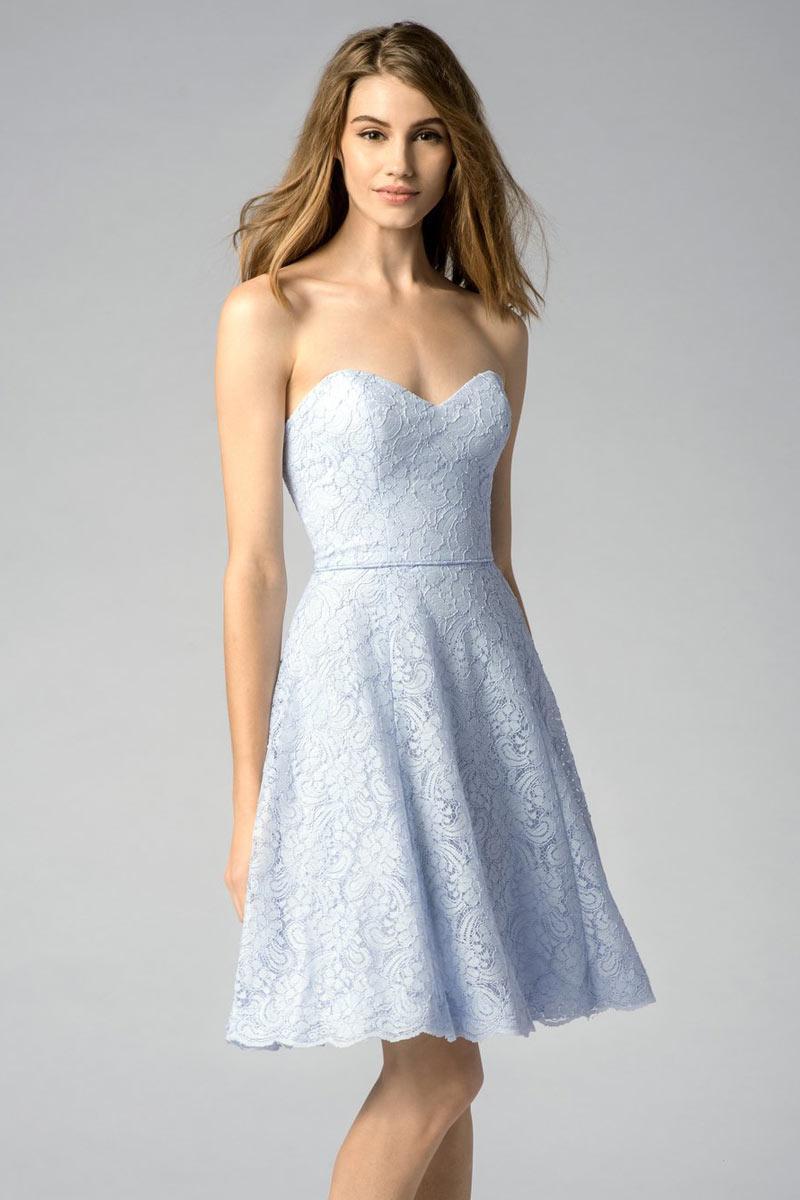 Robe Bleu Pastel Pour Fête De Mariage En Dentelle Courte Dos