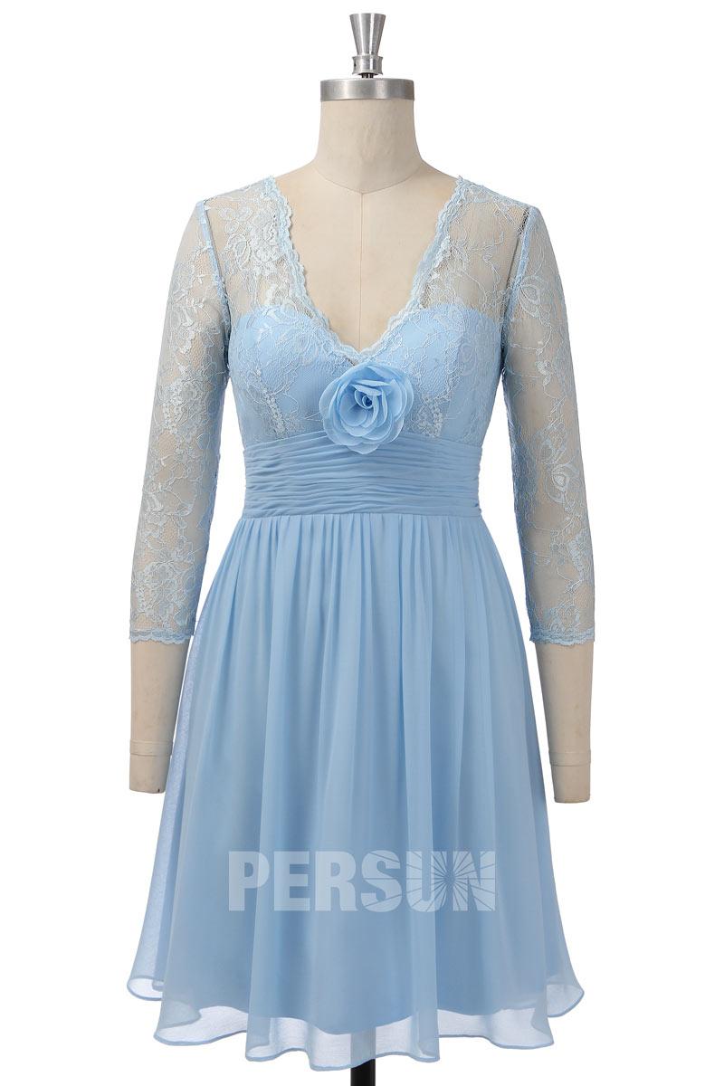 robe cocktail courte bleu décolleté v haut dentelle avec manches mi-longue