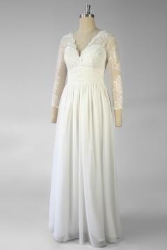 Robe de mariée à manche dentelle bohème longue