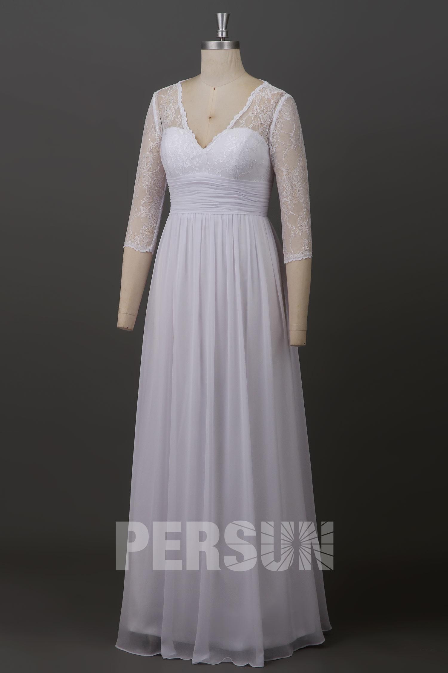 robe de mariée bohème en dentelle illusion taille plissée à manches mi-longues