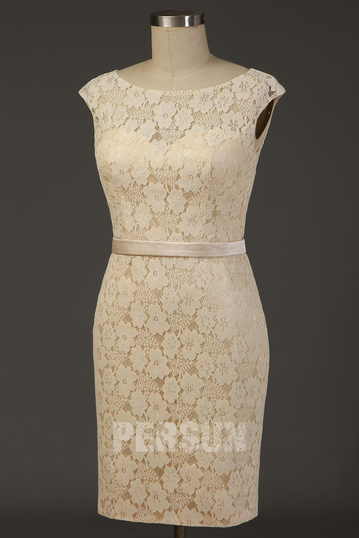 robe de mariée simple modeste courte fourreau dentelle champagne