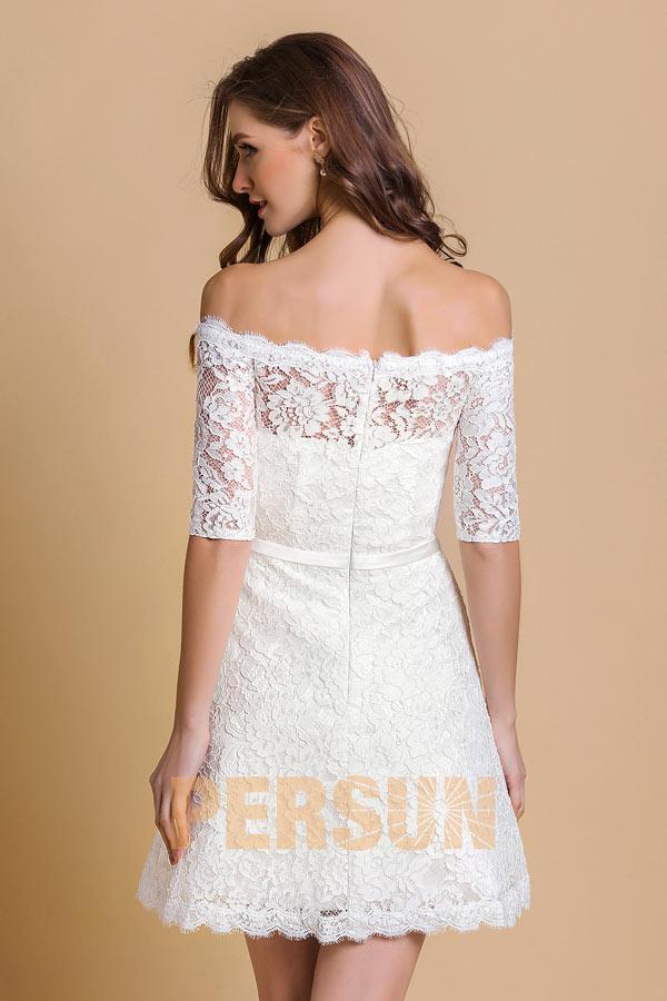 Robe blanche courte épaule dénudée en dentelle pour anniversaire mariage