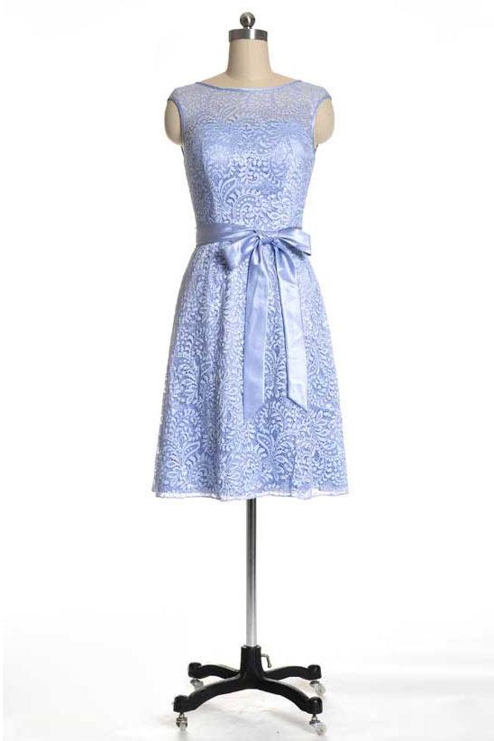 robe bleu courte pour mariage à noeud papillon encolure illusion