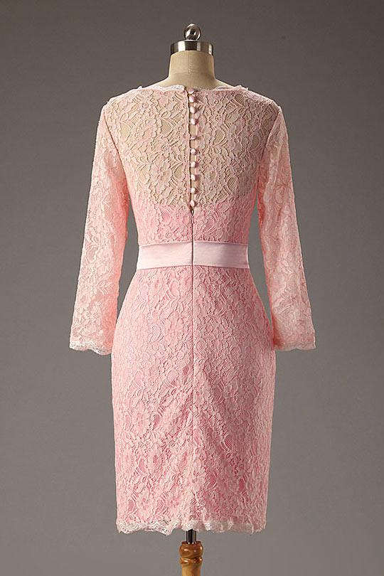 Robe de soirée courte dentelle rose avec manches longue