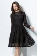 Robe du soir courte genoux manches longues en dentelle noire